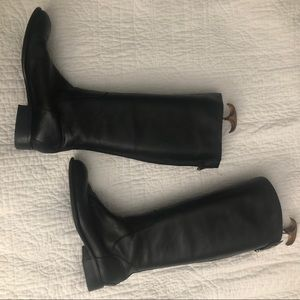 Franco Sarto 10 tall black leather boots perfect